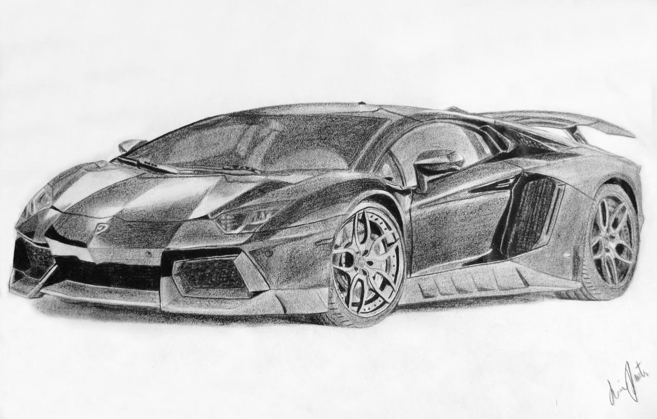 Drawn amd lamborghini aventador And Lamborghini Car  White