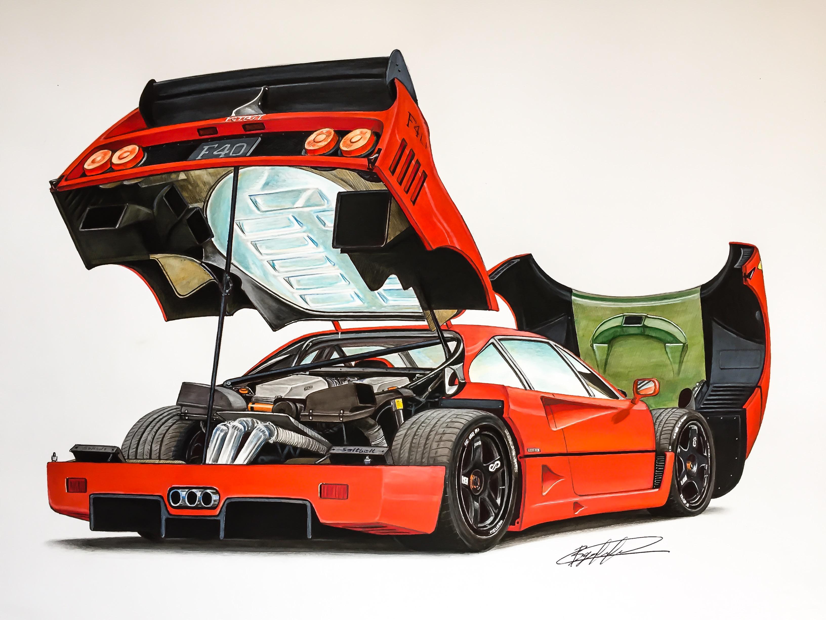 Drawn ferarri stanced car By LM Cars wing F40