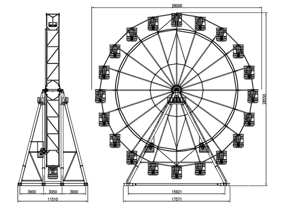 Drawn ferris wheel amusement park rides 30 30 amusement of