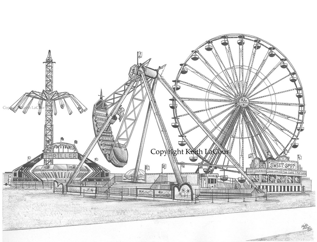 Drawn ferris wheel amusement park rides Pirate Ship drawing Flickr pencil