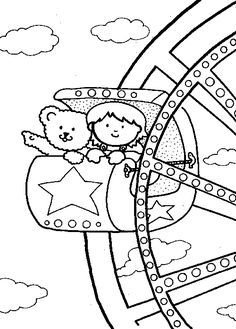 Drawn ferris wheel amusement park rides Kids Pages Pages Online Kids