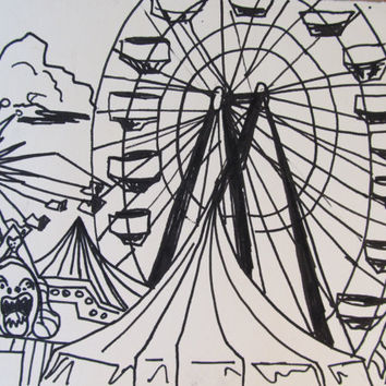 Drawn ferris wheel vintage Ferris Wheel Vintage Drawing