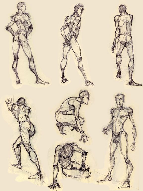 Drawn figurine character Anatomy on Pose (Males) キャラクターデザイン