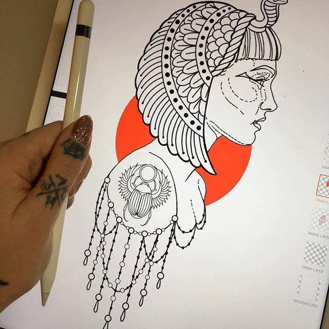 Drawn figurine cleopatra Tattoo tattoo  25+ tattoo