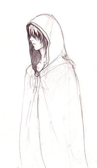 Drawn figurine cloaked Hooded Anime Figure by II