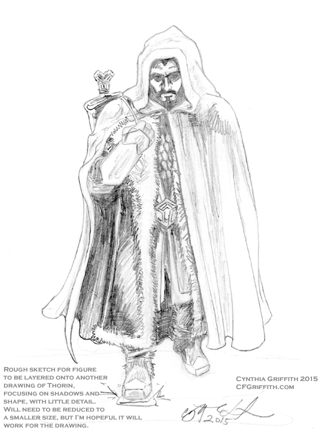 Drawn figurine cloaked On Thorin by RoughSketch1 RoughSketch1