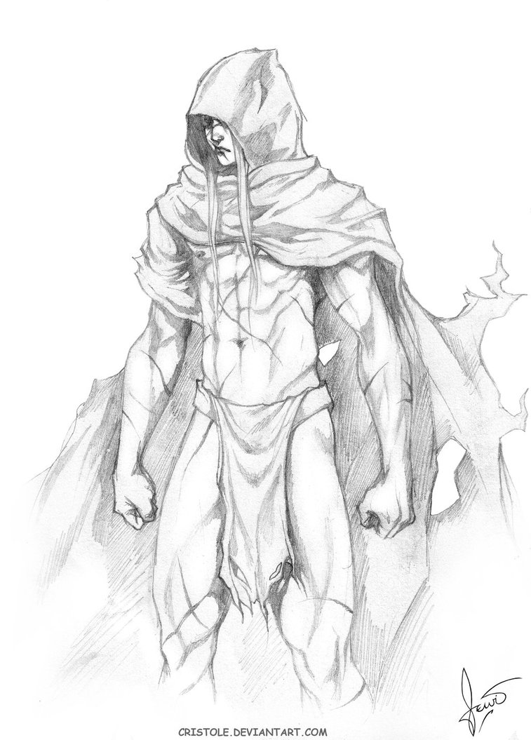 Drawn figurine cloaked Draw  Cloaked Sketch deviantART