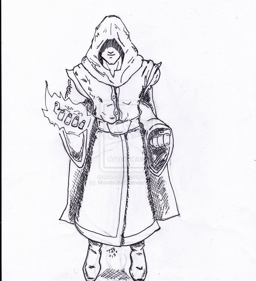 Drawn figurine cloaked Klejonka Black Figure Hooded Drawing