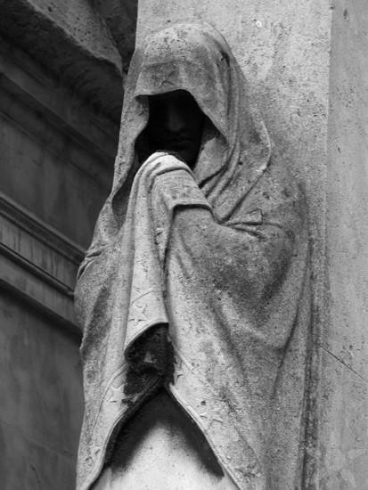 Drawn figurine cloaked Paris spooky in lurks A