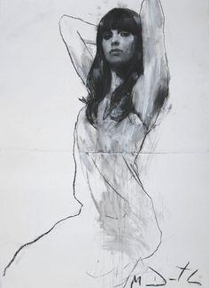 Drawn figurine contemporary Collage Natalie nicola Mark pastel