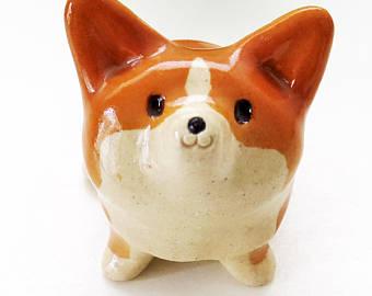 Drawn figurine corgi 工房しろ Etsy figurine Corgi figurine