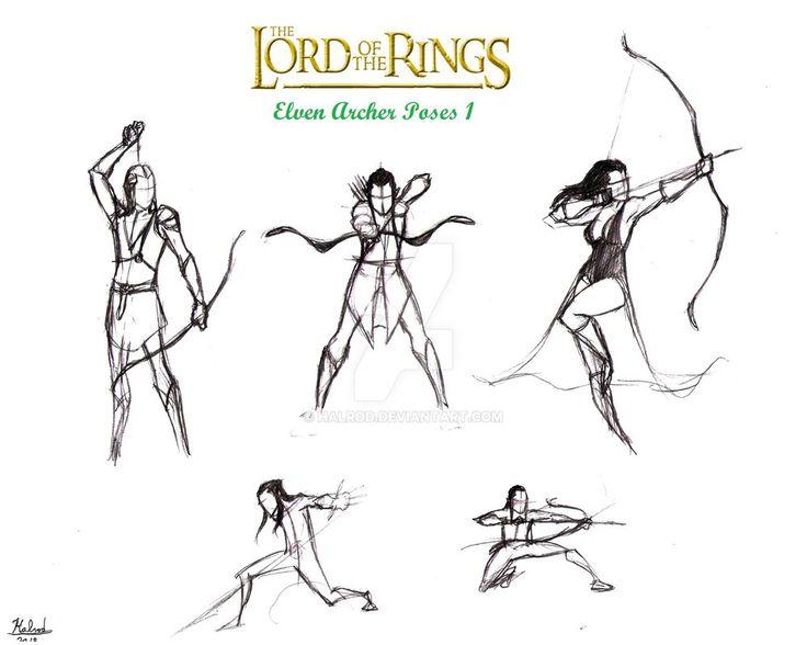 Drawn figurine female archer On ideas Body PoseDrawing by