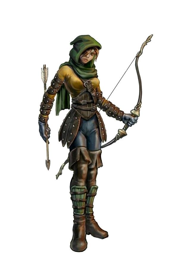 Drawn figurine female archer Female fantasy Archer DND Ranger