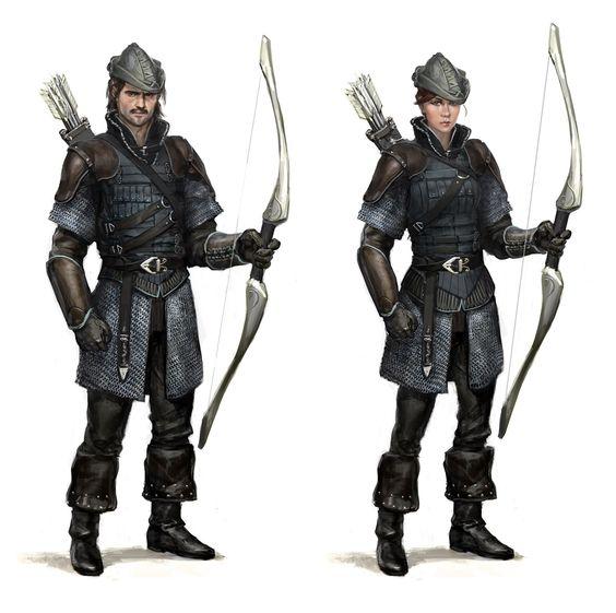 Drawn figurine female archer Sketching  & and &