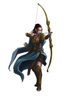 Drawn figurine female archer Archerytag Highness https: arrow at