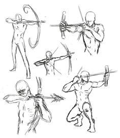 Drawn figurine female archer Archery http://greytaliesin Art/Drawing 1 1