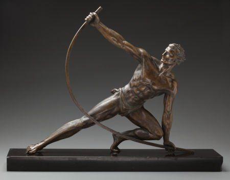 Drawn figurine male archer Archery bronze ca 1930 male
