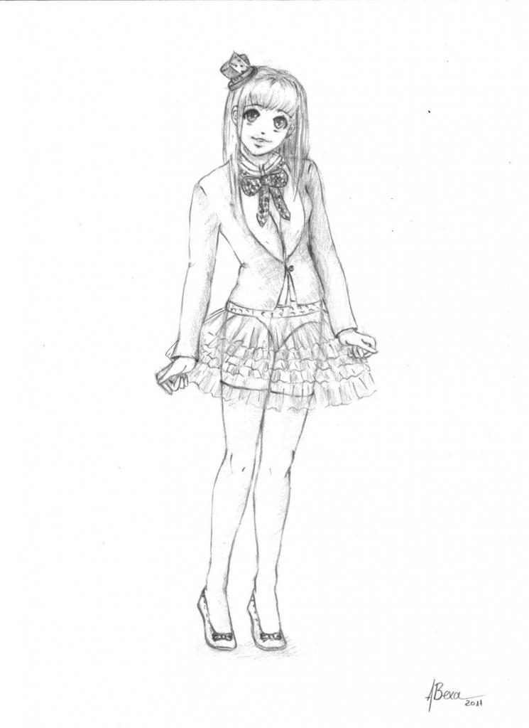 Drawn figurine pencil full body Draw photos Drawing of Anime
