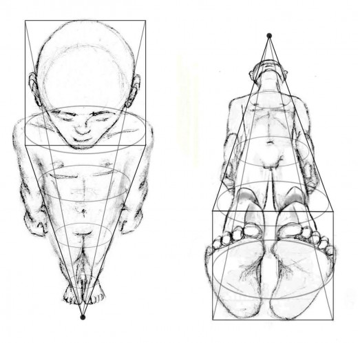 Drawn figurine perspective Foreshortening Human Drawing Figure: Figure: