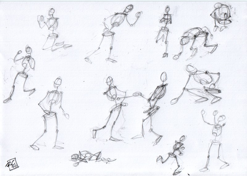 Drawn figurine sticky Drawing stick moving and figures