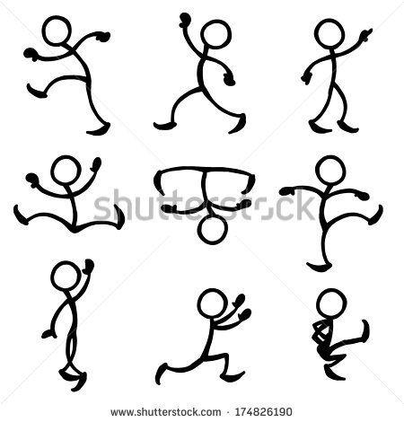 Drawn figurine sticky On stick stick in dancing