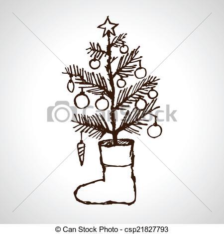 Drawn fir tree line drawing Design & xmas of &