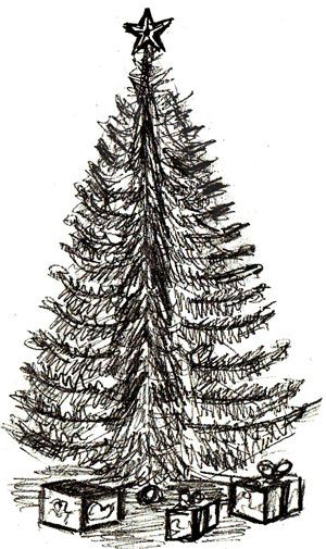Drawn fir tree realistic Best step on How christmas