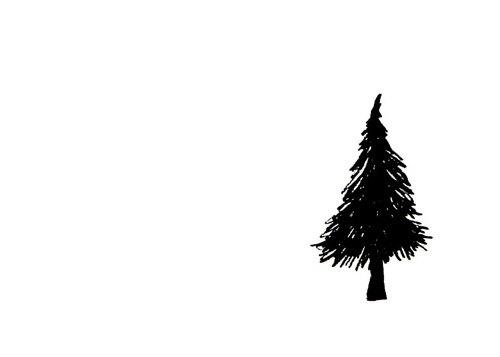 Drawn fir tree simple Minimalist Tree and Art