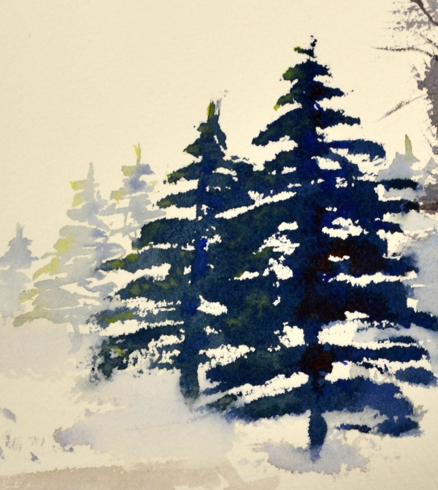 Drawn fir tree We a the Christmas painted