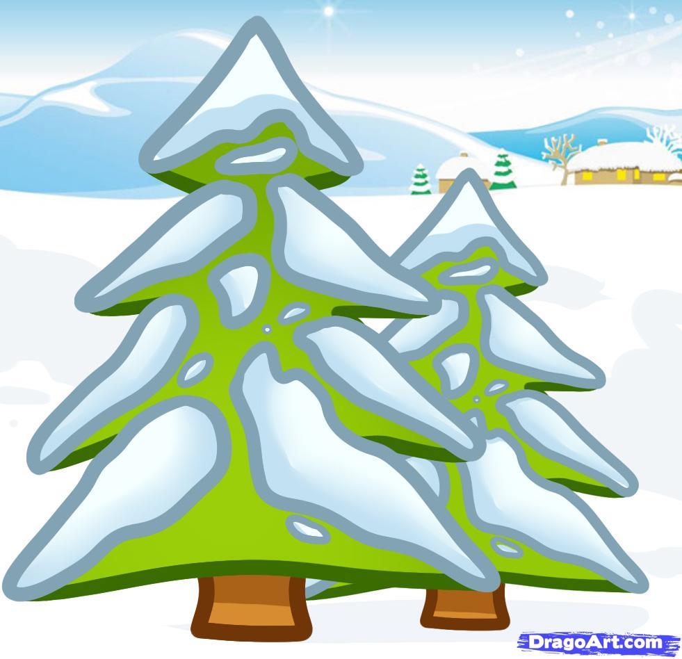 Drawn pine tree winter tree Winter Trees how to