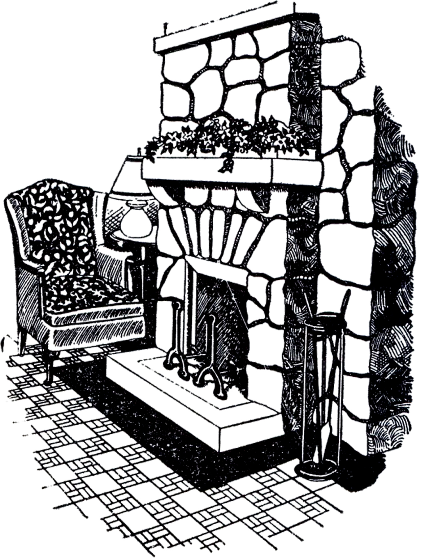 Fireplace clipart old fashioned Image Stone Fireplace The Drawing