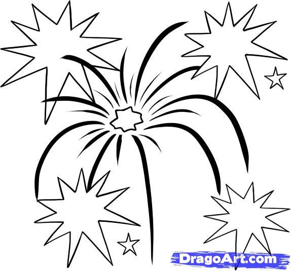 Drawn fireworks Fireworks Step Draw  step