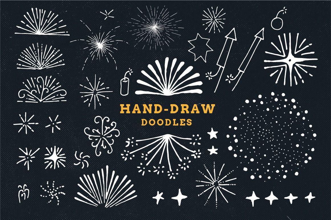 Drawn fireworks Draw sun hand sun pack