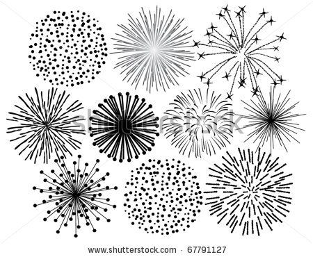 Drawn fireworks (top on drawing middle?) 25+