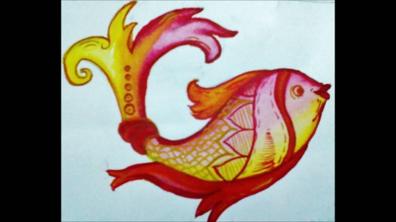 Drawn fishing school VERY SWAN DEER VERY ALEKHAN:HOW