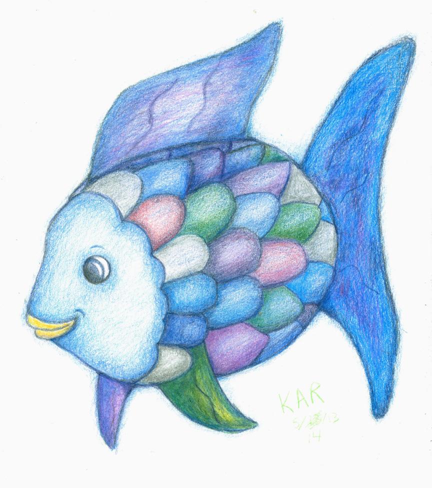 Drawn rainbow blue FISH KALMASIS by FISH by