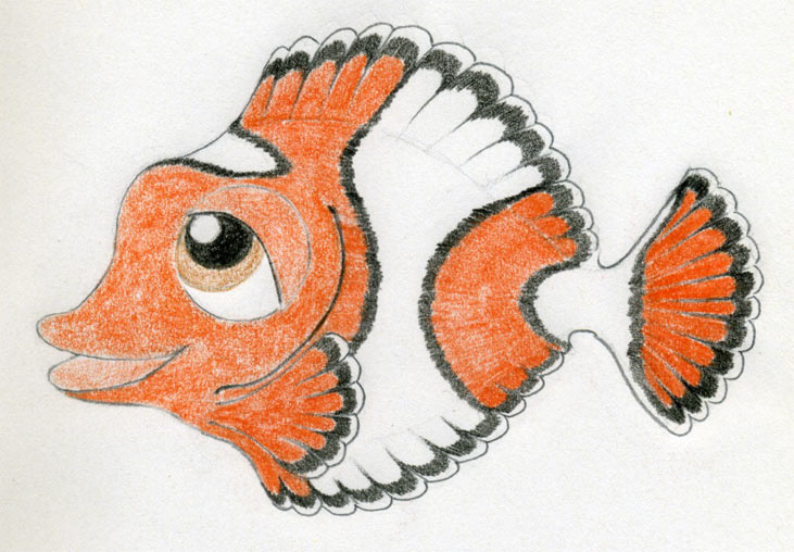 Drawn orange colouring Fish Fish cartoone by fish