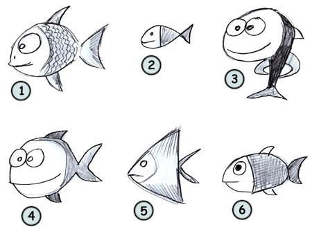 Drawn goldfish small fish 4 fish step draw fish