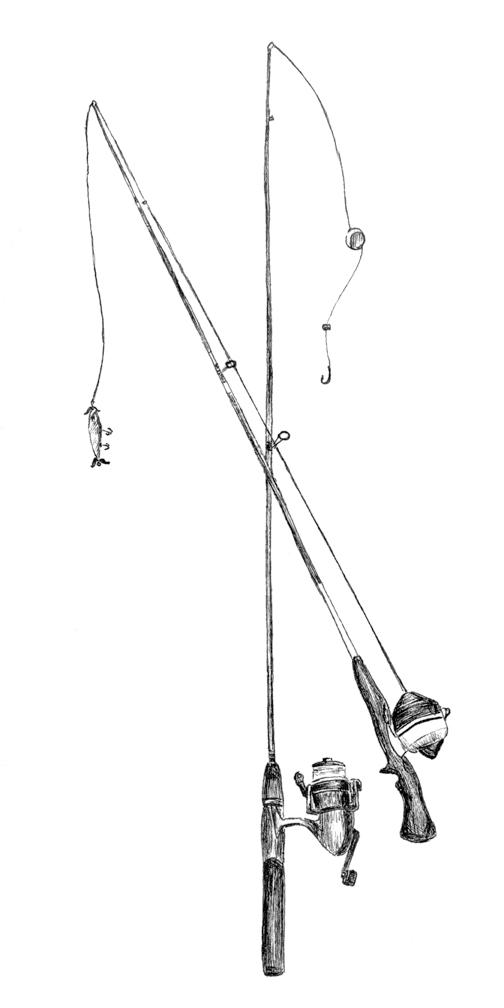 Drawn fishing Two Fishing Shirts Pole he