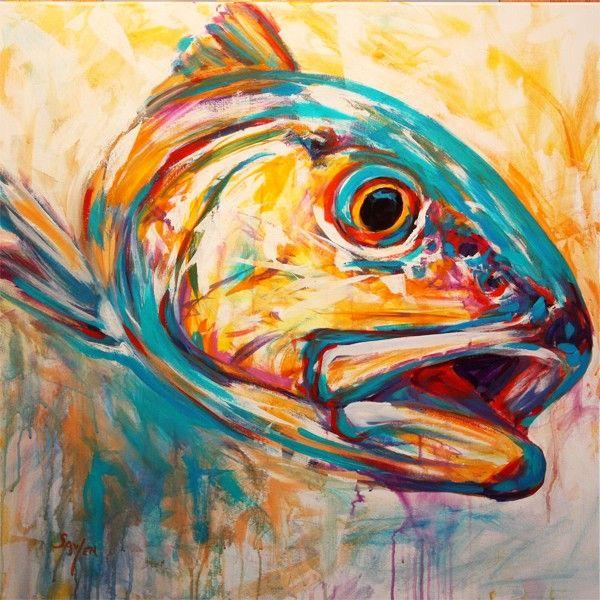 Drawn fishing school Red on paintings ideas Fish