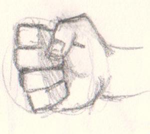 Drawn fist Error fist An to different