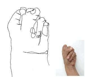 Drawn fist effective Contour Simple 42 drawing Blind