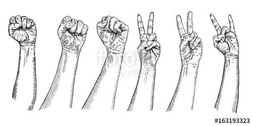 Drawn fist freedom Sign girl symbol Set man