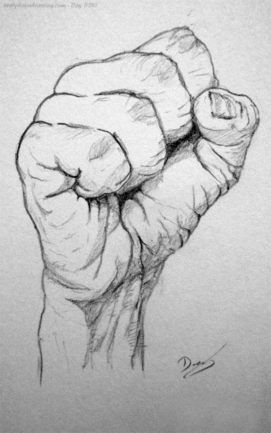 Drawn fist sketch Fist Drawing Day #295 Drawing
