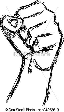 Drawn fist sketch Sketch concept fist vector hand