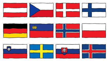 Drawn flag central europe Flag
