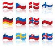 Drawn flag central europe Button Europe European Flags