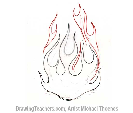 Drawn flame 7 Flames How heart with