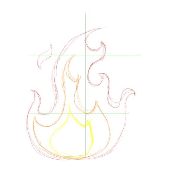 Drawn rose flame Shapes draw for smaller can