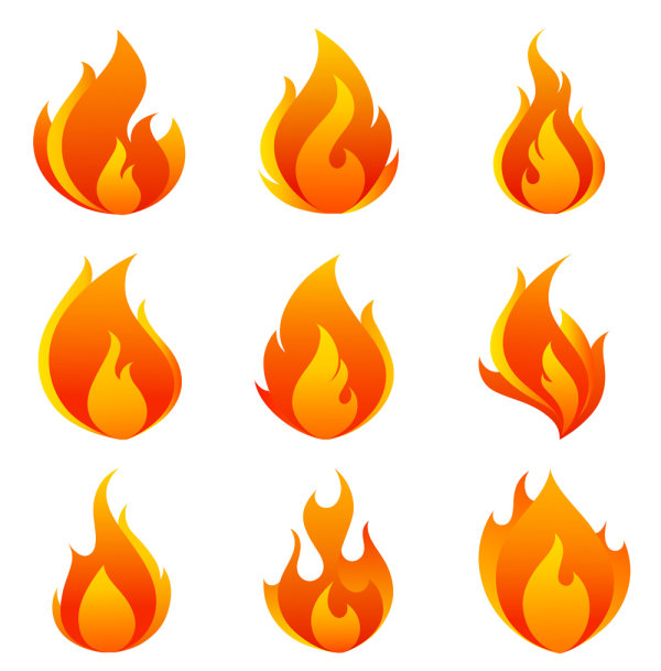 Flames clipart comic Icons flame of flame vector